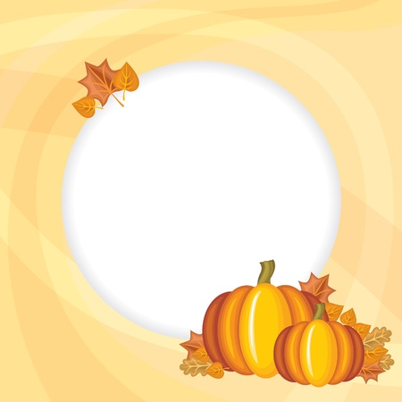 Congratulatory background with pumpkins and autumn leaves