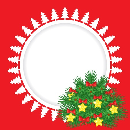 Congratulatory Christmas background with decorated fir tree Stock Vector - 21728903