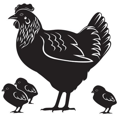 母雌鶏および 4 つの小さな鶏