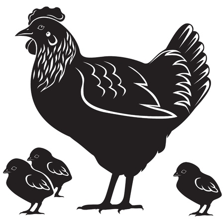 Mother hen and four small chicken 向量圖像