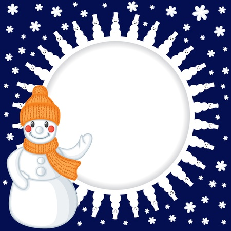 Congratulatory Christmas background with cartoon snowman Vector