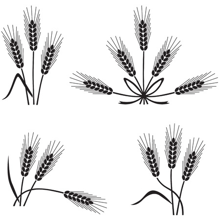 Set of silhouette images of wheat ears Vector