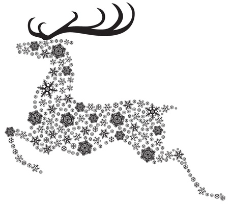 Christmas reindeer silhouette picture consisting of snowflakes Vector