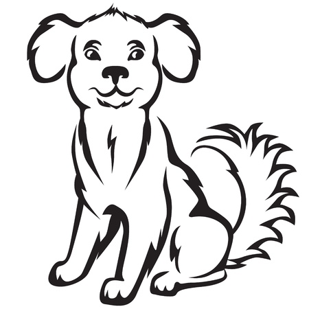dog nose: Cartoon contour image cute little puppy
