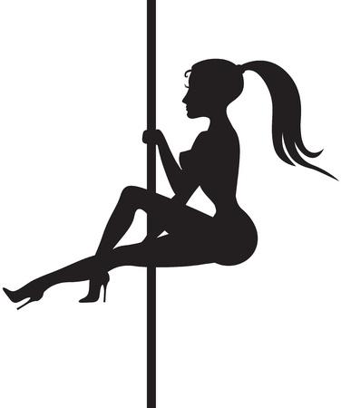 pole dance: Silhouette di una bella ragazza che balla striptease attorno a un palo Vettoriali
