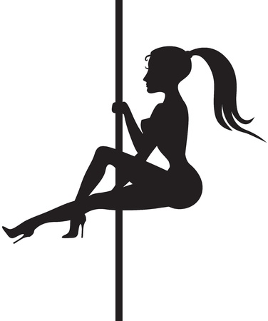 stripper: Silhouette of a beautiful girl dancing striptease around a pole Illustration