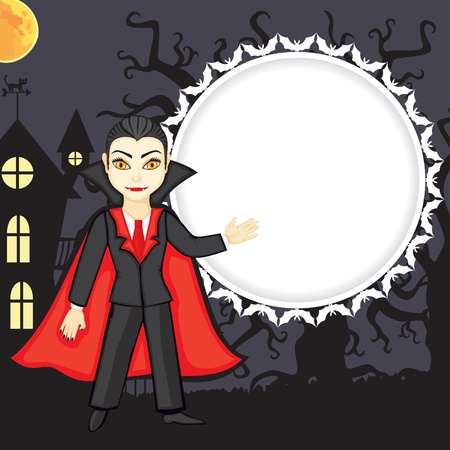 Congratulatory Halloweens background with vampire Vector