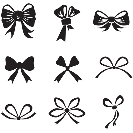 black ribbon bow: Silhouette image of different bow collection