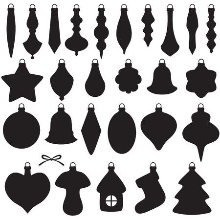 campanas de navidad: Imagen de la silueta de adornos de Navidad establecido
