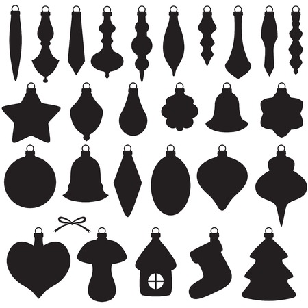 Silhouette image of Christmas baubles set Vector