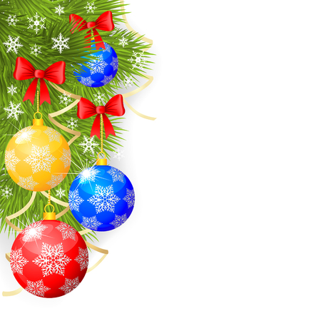 Congratulatory Christmas background with fir branches and decorative balls Vector