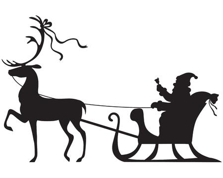 Silhouet van de zitting van de Kerstman in een slee, herten die trek Stock Illustratie
