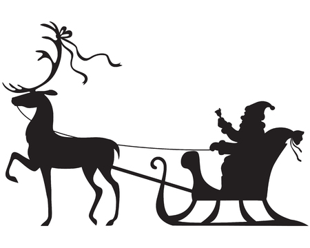 Silhouette of Santa Claus sitting in a sleigh, deer who pull Illustration