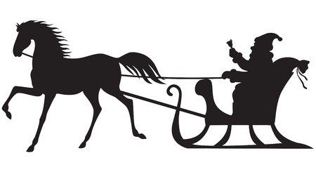 horse sleigh: Silhouette of Santa Claus sitting in a sleigh, horse who pull
