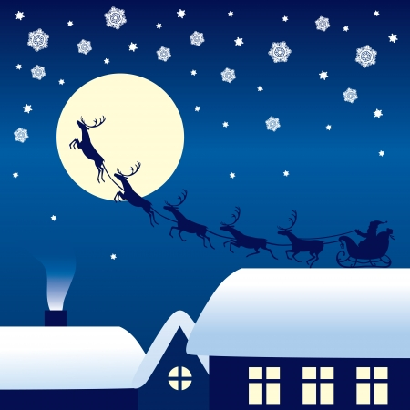 santa sleigh: Silhouette of Santa Claus sitting in a sleigh, reindeer who pull on a moon background