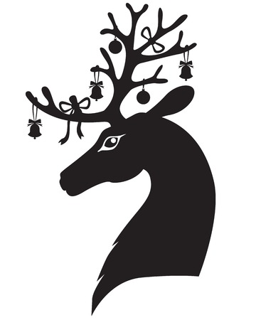 reindeer silhouette: Christmas deer head with antlers decorated with bells and bows