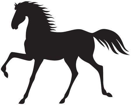 A silhouette image of a beautiful horse running trot Illustration