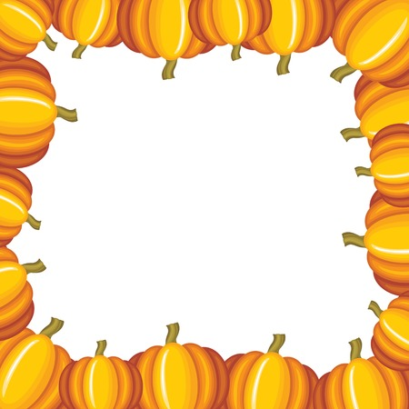 Congratulatory background with orange pumpkins Vector