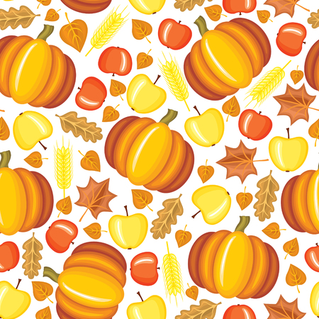 Seamless pattern with red and yellow apples, pumpkins and autumn leaves Vector