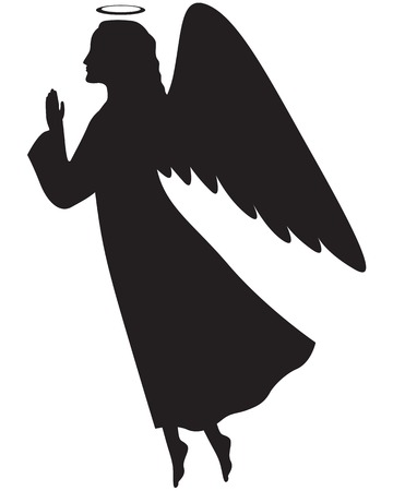 Silhouette of a Christmas angel in profile with her hands folded in prayer Иллюстрация