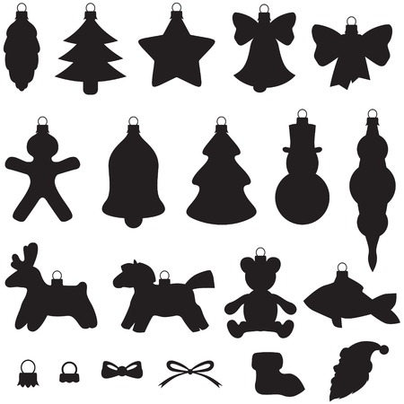 Silhouette image of Christmas baubles set Stock Vector - 22576366