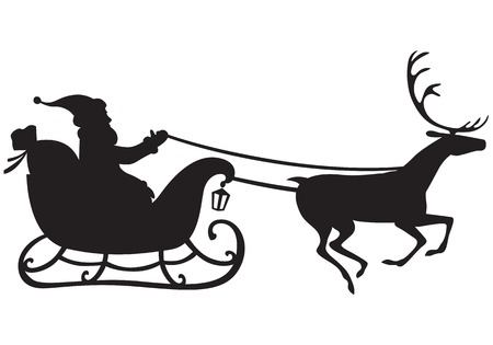 Silhouette of Santa Claus riding a sleigh pulled by reindeer, and carries a sack of gifts