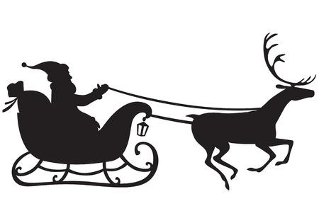 renos de navidad: Silueta de Santa Claus montado en un trineo tirado por renos, y lleva un saco de regalos