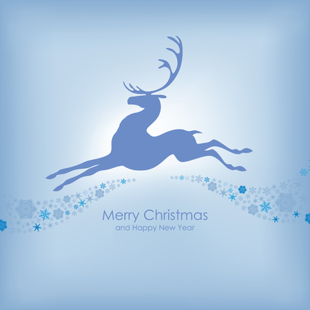 Congratulatory Christmas card with silhouette beautiful prancing reindeer and background of snowflakes Vector