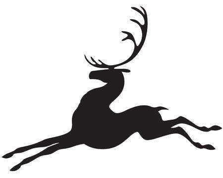 Silhouette beautiful Christmas prancing reindeer  Illustration