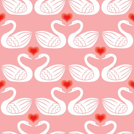 Seamless pattern with pairs swan and hearts Vector