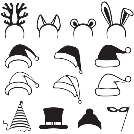 cartoon hat: Set Christmas carnivals caps, mask and ears  Illustration