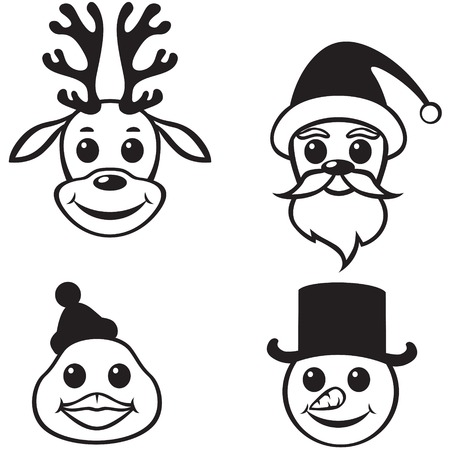 Set contour image of Christmas funny muzzles: Santa, reindeer, snowman and penguin