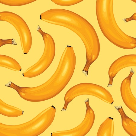Seamless pattern of ripe bananas on yellow background 免版税图像 - 23211705