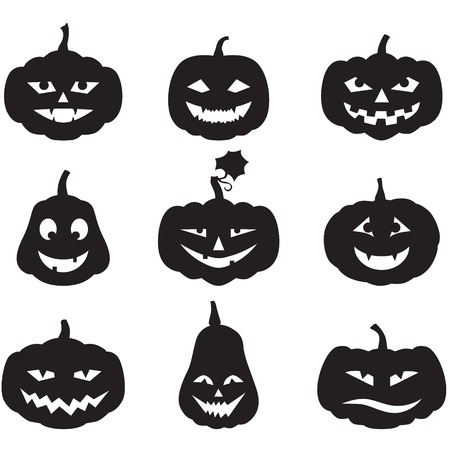 Set of silhouette horror images of pumpkins