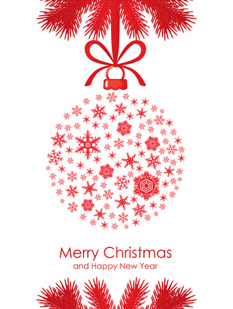 Christmas card with ball decorated snowflakes and silhouette fir branches