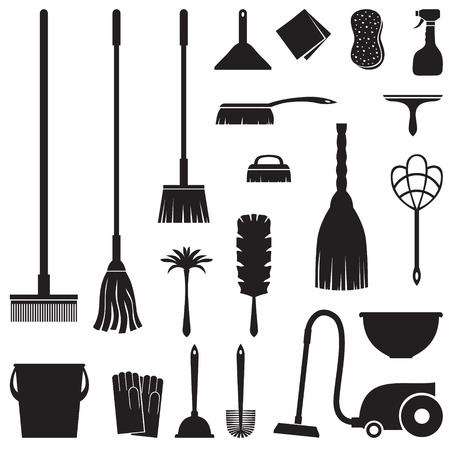 A set of equipment for house cleaning Vector