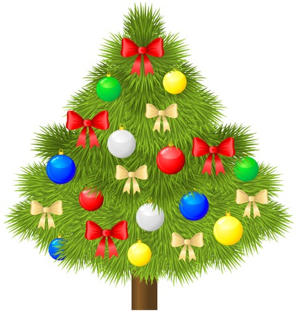 Christmas fir tree decorated with baubles and bows Stock Vector - 23551824