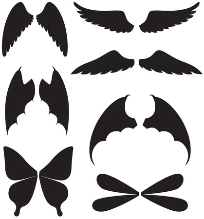 Set of silhouette images of different wings Vector
