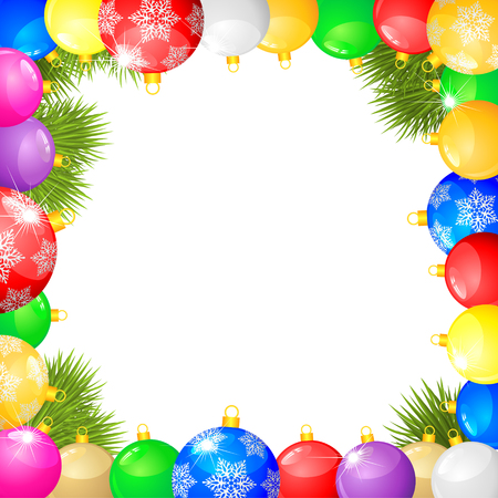 Christmas congratulations frame with multicolored balls and fir branches Stock Vector - 23551829