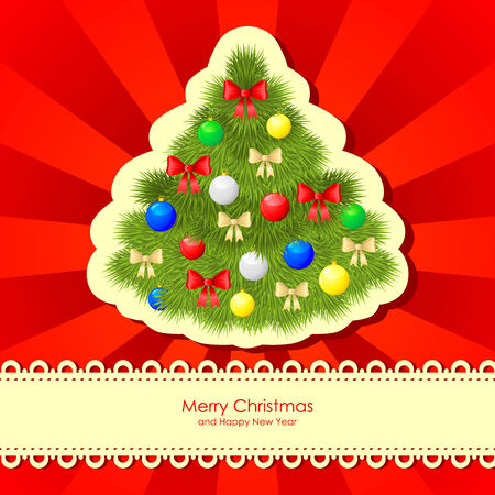 Christmas fir with baubles and bow on red background Stock Vector - 23551831