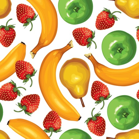 Seamless pattern of ripe bananas, pears, strawberries and green apples on white background Vector