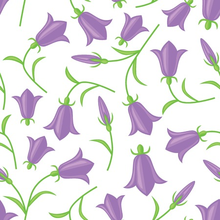 Seamless pattern with flowers and buds bluebell Illustration