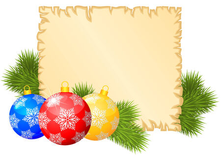 Christmas congratulations background with old paper sheet, multicolored balls and fir branches Vector