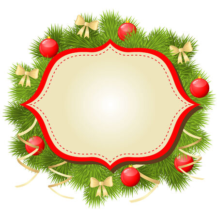 needless: Christmas congratulations background with fir and baubles Illustration