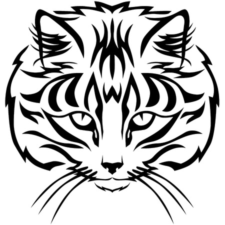 tabby cat: Contour black and white image muzzle tabby cat