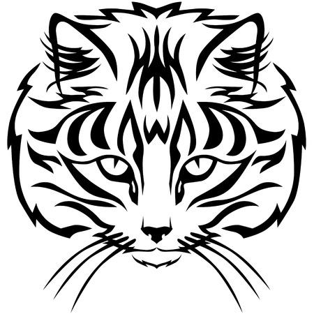 caras emociones: Contour imagen hocico atigrado gato blanco y negro Vectores