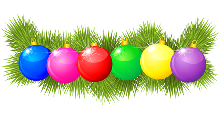 needless: Christmas garland made of fir branches and colored balls Illustration