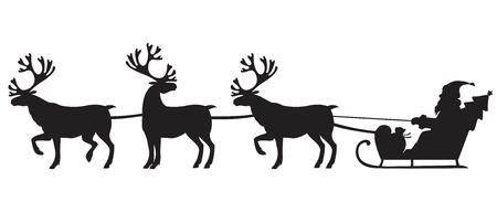 Silhouet afbeelding van de Kerstman rijden op een slee met riendeer Stock Illustratie