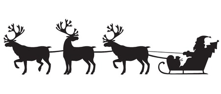Silhouette image of Santa Claus riding a sleigh with riendeer