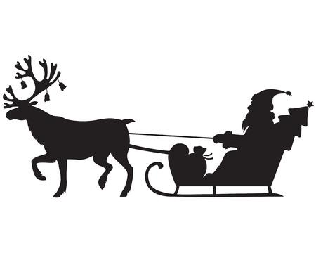Silhouet afbeelding van de Kerstman rijden op een slee met rendier